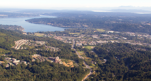Aerial of the City of Issaquah and Lake Sammamish