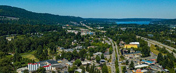 Drone shot over Issaquah
