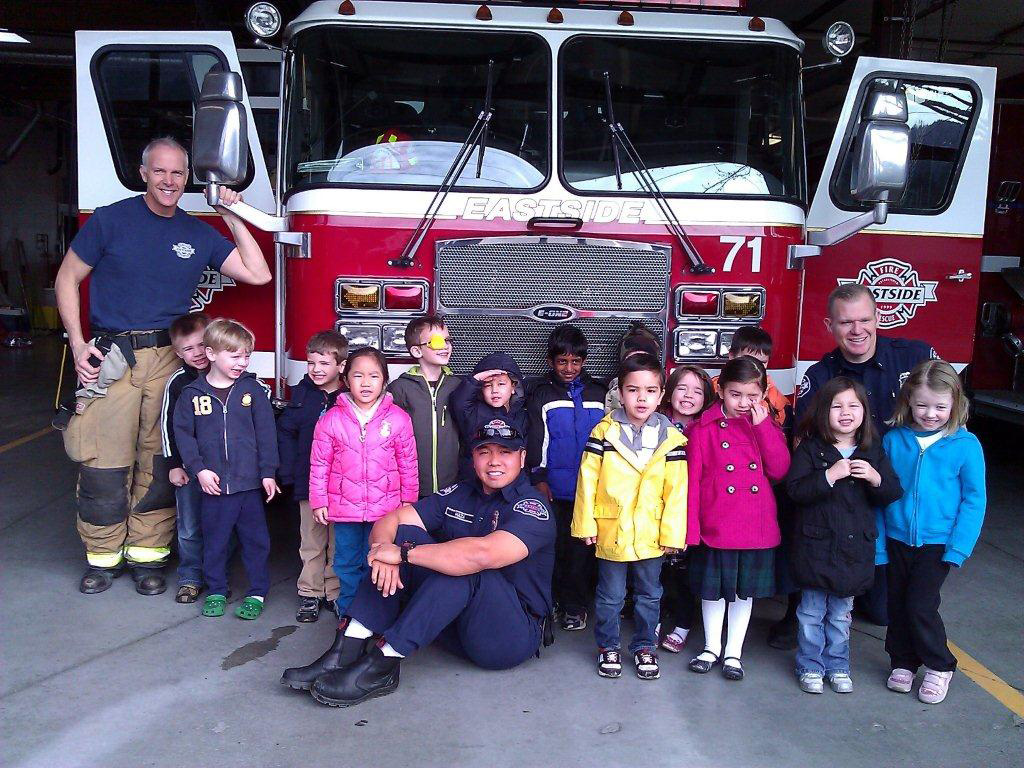 Preschool visiting the firestation